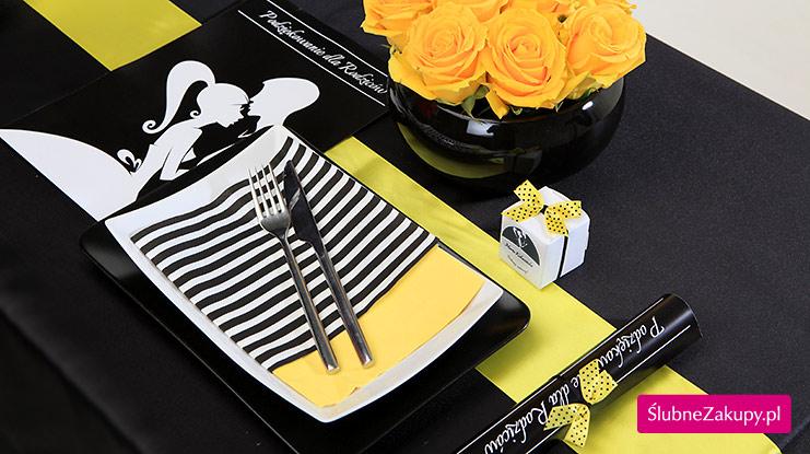 Dekoracje weselne w kolorze czarnym i żółtym