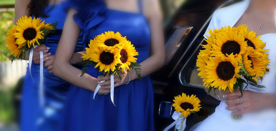 słonecznikowe bukiety ślubne