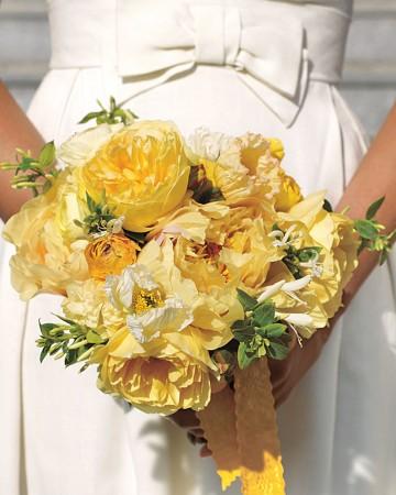 zielono-żółty bukiet ślubny