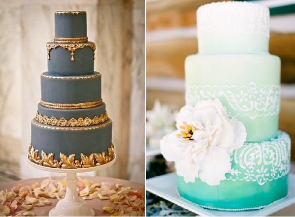 niebieski tort weselny