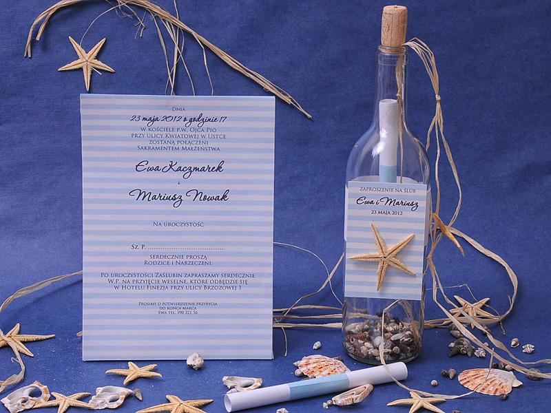 zaproszenie ślubne w butelce