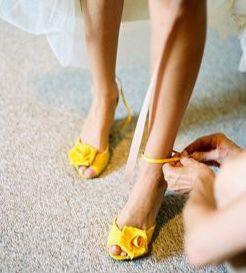 żółte buty ślubne