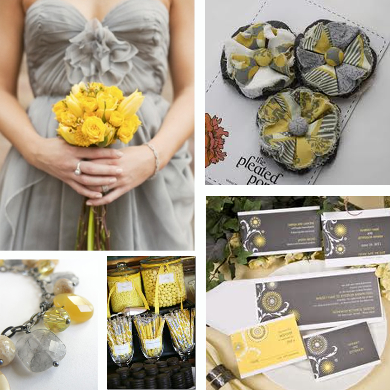 Szaro-żółta inspiracja ślubna