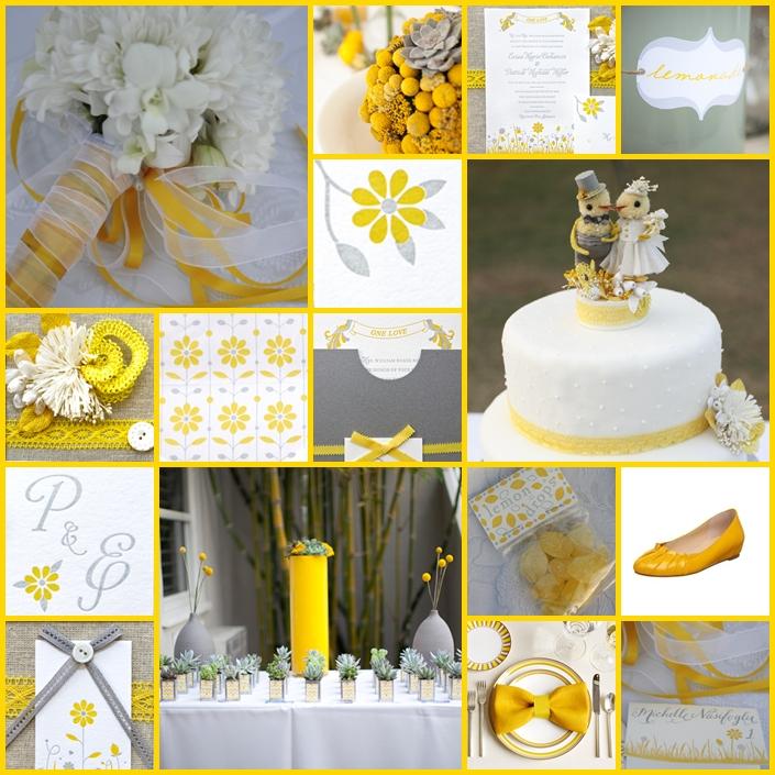 Szare i żółte dekoracje ślubne