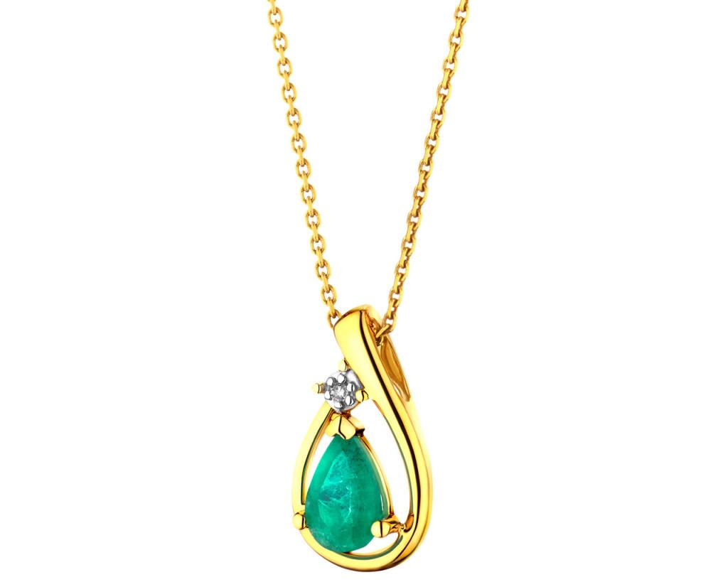 Zawieszka z żółtego złota z diamentem i szmaragdem