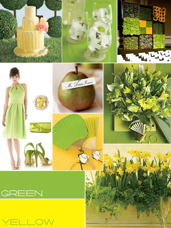 Zielone i żółte dekoracje weselne