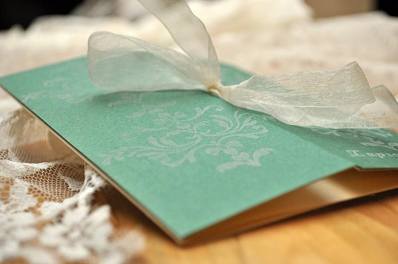 zielone zaproszenie slubne