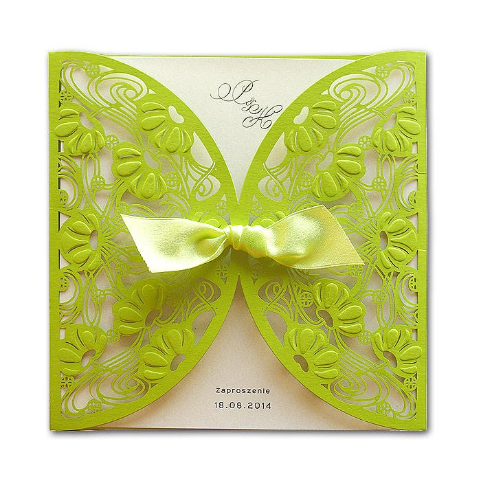 zielone zaproszenie ślubne