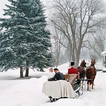 Sanie do ślubu zimą