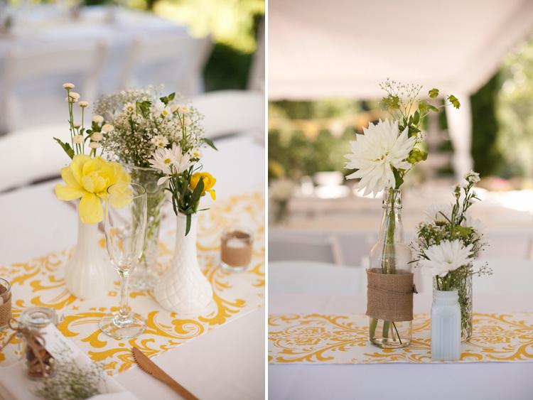 żółte dekoracje na stole weselnym