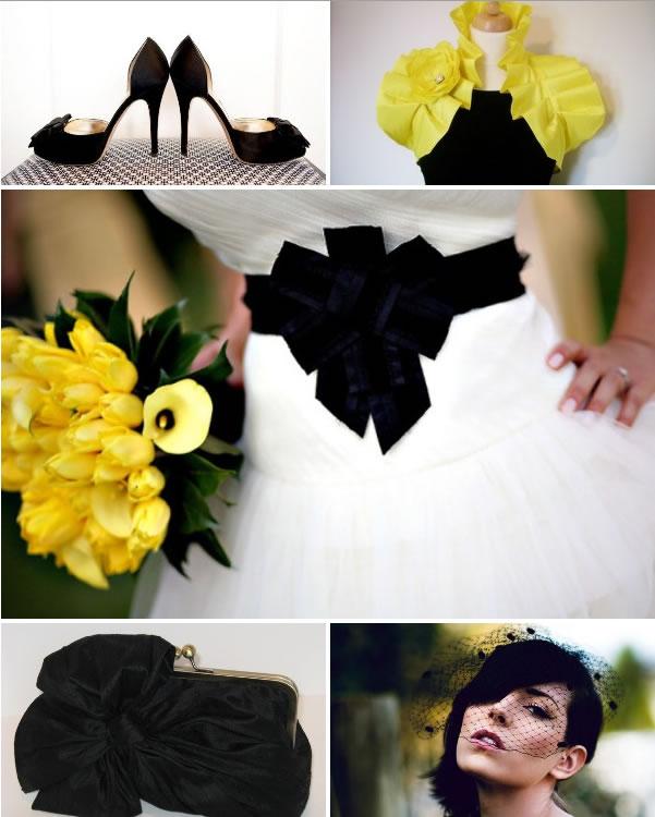 Żółto-czarne dodatki ślubne