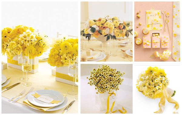 Żółte bukiety na stole weselnym