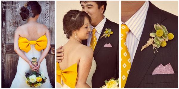 Żółte elementy w stroju państwa młodych