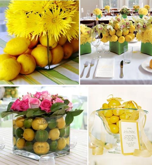 Żółto-zielone dekoracje stołów weselnych
